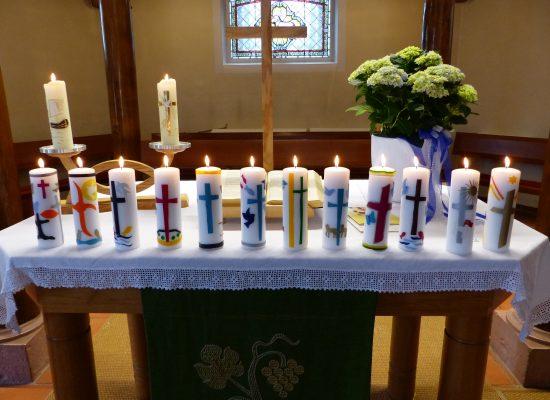 Kerzen der Konfrimanden 2018