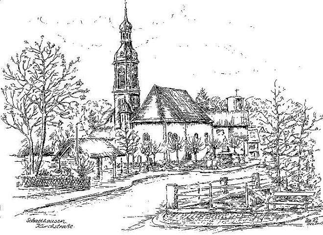 Kirche gezeichnet von Walter Ritzhaupt